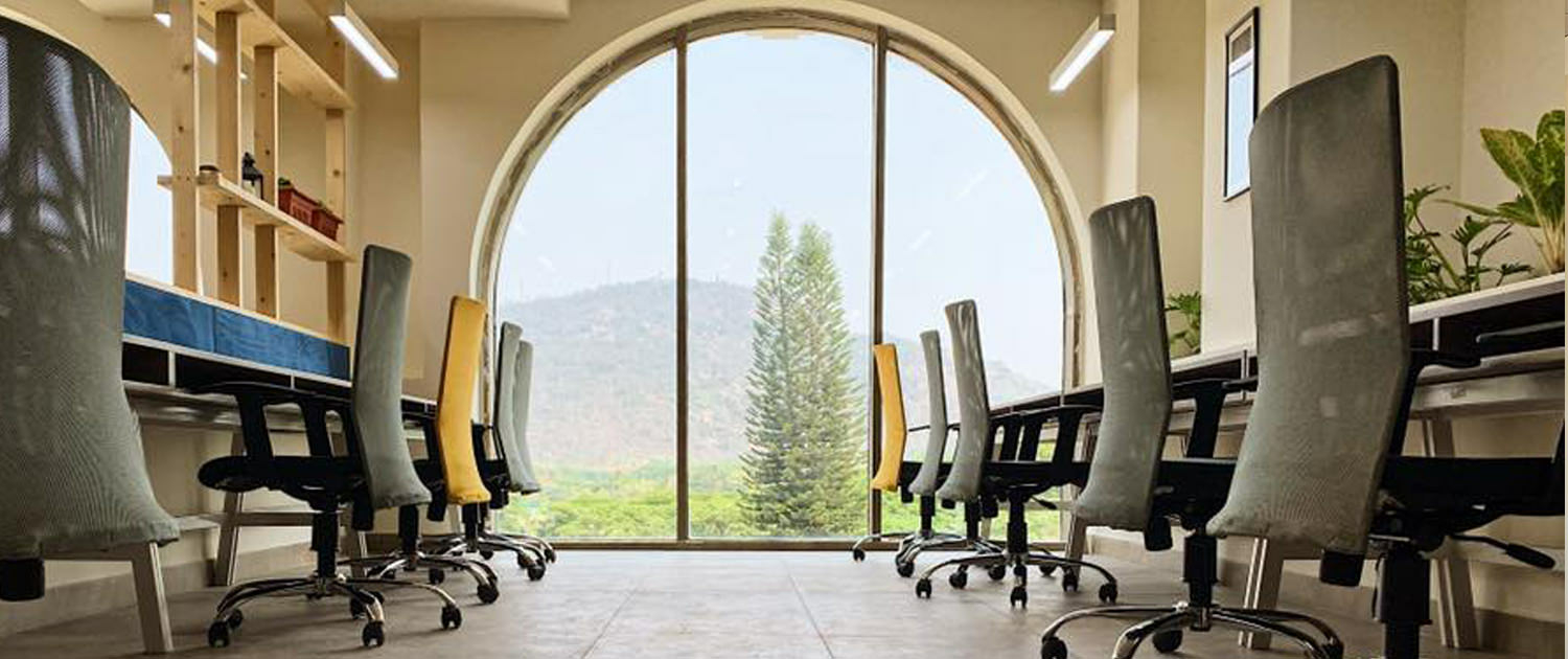 With a view of the Mysuru Golf Course and Chamundi Hills, the Beautiful Big Arches at SproutBox bring in so much day light